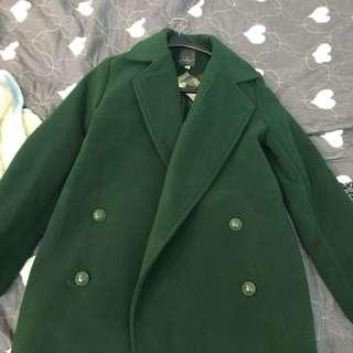 全新)大衣外套綠色