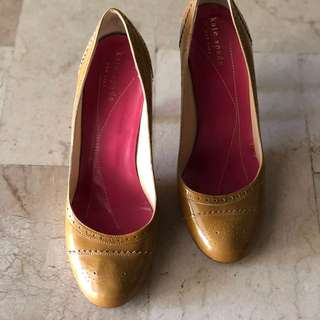 "KATE SPADE NEW YORK ""Kelley"" Mustard Patent Leather Pumps"