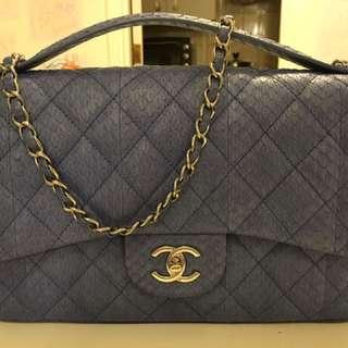 Authentic blue python leather Chanel handbag