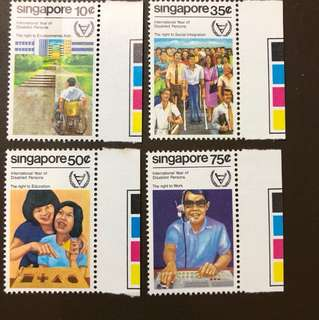 Clearing At Face Value: Singapore 1981 Disabled Persons Stamps Set of 4, Mint Not Hinged