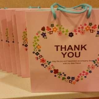 """精美""""Thank You""""粉紅色卡紙手提禮品袋 20cmx20cmx8cm 10個"""