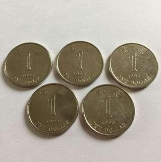 1993年 錯體 香港一元 可被磁石吸起 $20/個