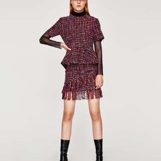 Authentic Zara tweed peplum top and skirt set