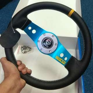 (LIMITED STOCK) STEERING SPARCO SAFARI LEATHER 13.5INCH