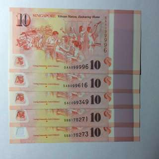 Caring Community, Active Citizenry Singapore Commemorative SG50 $10 notes.