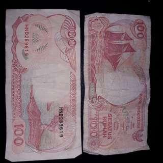 Uang Pecahan 100 Rupiah Tahun 1992