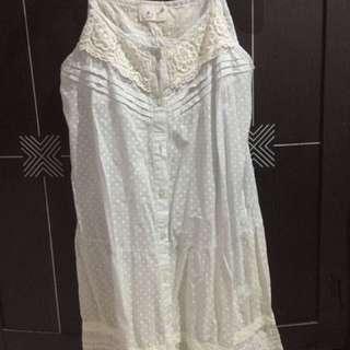 Dress korea putih biru