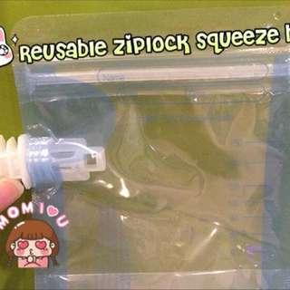 Ziplock reusable baby purée squeeze bag