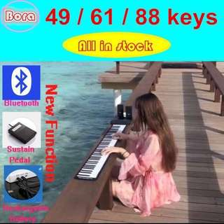 Portable Hand Roll Piano .High quality tone。Hand Roll Up Piano Electronic USB Keyboard and Loud Speaker - intl. 49/61/88keys