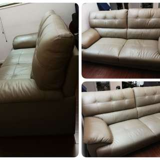 90% new comfy real leather sofa!
