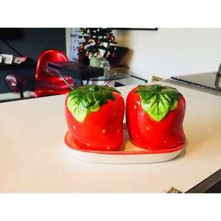 Strawberry salt and pepper shaker