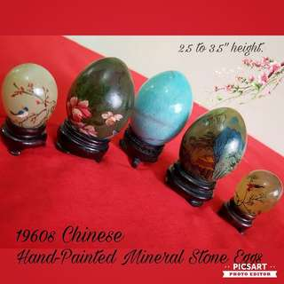"1970s Chinese Mineral Stone Hand-Painted Eggs with Birds, Flowers or Sceneries. The lovely Blue Egg is not painted. Sizes 2.5'-3.5"" tall. Good Condition, no chip no crack no loss of paint. All 5pcs for $38 Clearance Offer! sms 96337309."