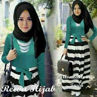 reva hijab  Maxi spandex bawah salur ada variasi tali + pash fit L