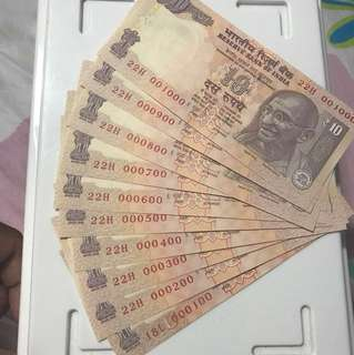 Lower fancy no 100 to 1000  indian 10 Rupees Note Unc