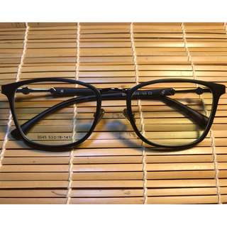 大熱中銀方形磨砂黑色眼鏡(A33)