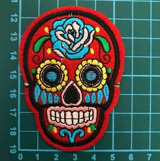 Sugar Skull - Embroidered Iron on Patch