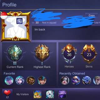 Mobile legend account for IOS