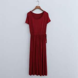 Short Sleeve Maternity Dress With Waist Tie - Maroon