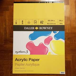 Daler Rowney System 3 Acrylic Pad A2 230gsm 20sht