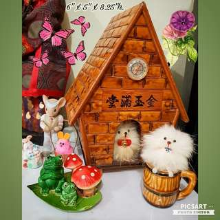 1970s Vintage Hand-made Display: Dog in a House made of Bamboo, Dog in a Porcelain Mug, Plastic Frogs beside Mushrooms. Pink Rabbit in a Basket, Porcelain Mouse behind, Mummy Rabbit with 2 little rabbits. All 6pcs for $28 Clearance Offer! sms 96337309.