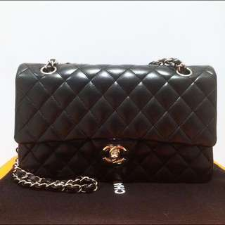 9成新 Chanel Classic 經典中號 Medium Double Flip Shoulder Hand Bag Phw Black 中size 銀扣