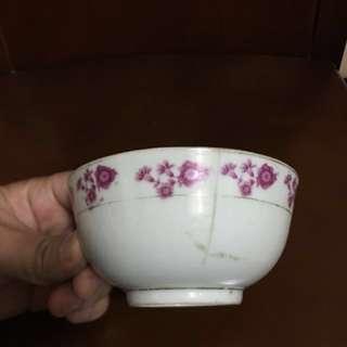 古董40-50年代西江景徳鎮瓷2名圓印古碗一隻,有冲,太子地鐵站交收