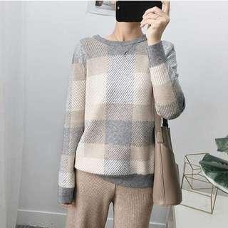 🚚 全新格子.格紋.方塊.灰色撞色配色.厚針織毛衣