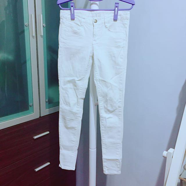 正韓微彈力不透窄管鉛筆褲白褲