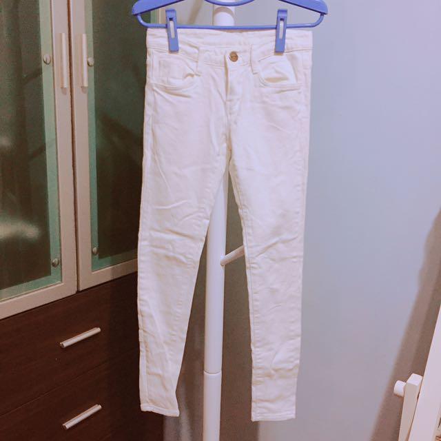 正韓微彈力顯瘦窄管鉛筆褲白褲