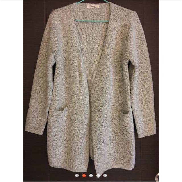 針織厚款長版外套