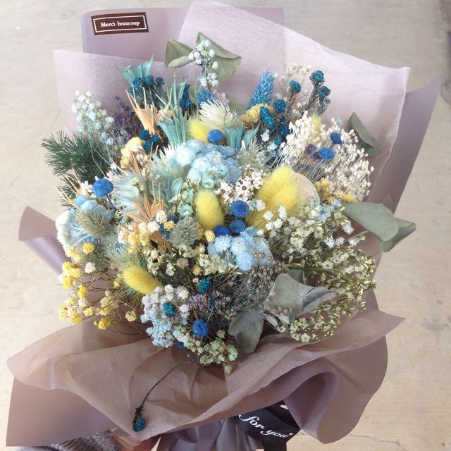 藍色系乾燥花束