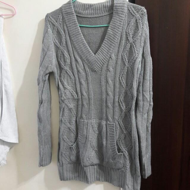 灰色麻花針織前口袋毛衣針織上衣針織衫
