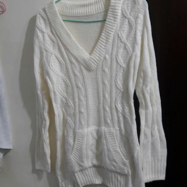 白色麻花針織前口袋毛衣針織上衣