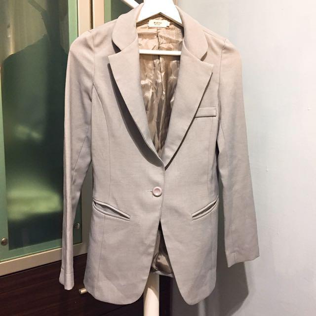 正韓灰色顯瘦上班族西裝外套