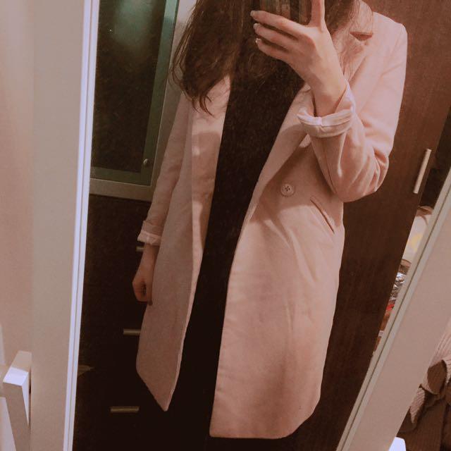 優雅粉色修身棉質西裝外套