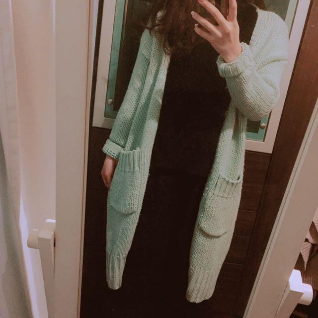 正韓極美藍綠色毛衣外套