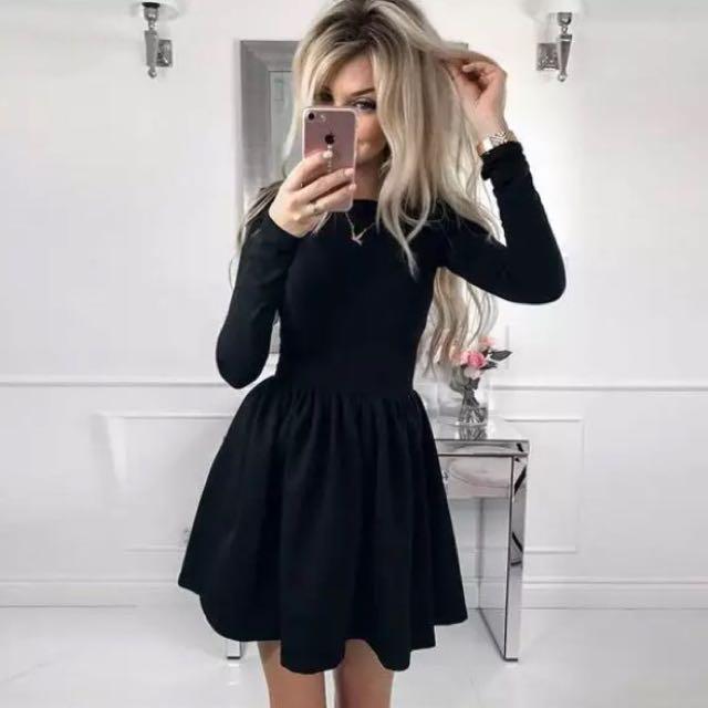 長袖短洋裝