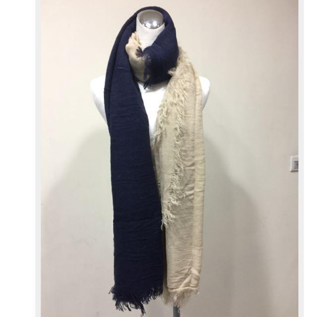 韓國帶回雙色長針織圍巾披肩