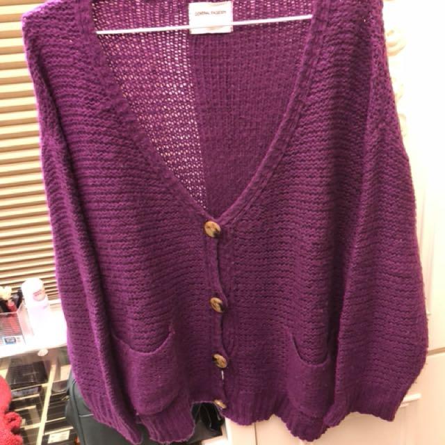 紫羅蘭色針織外套