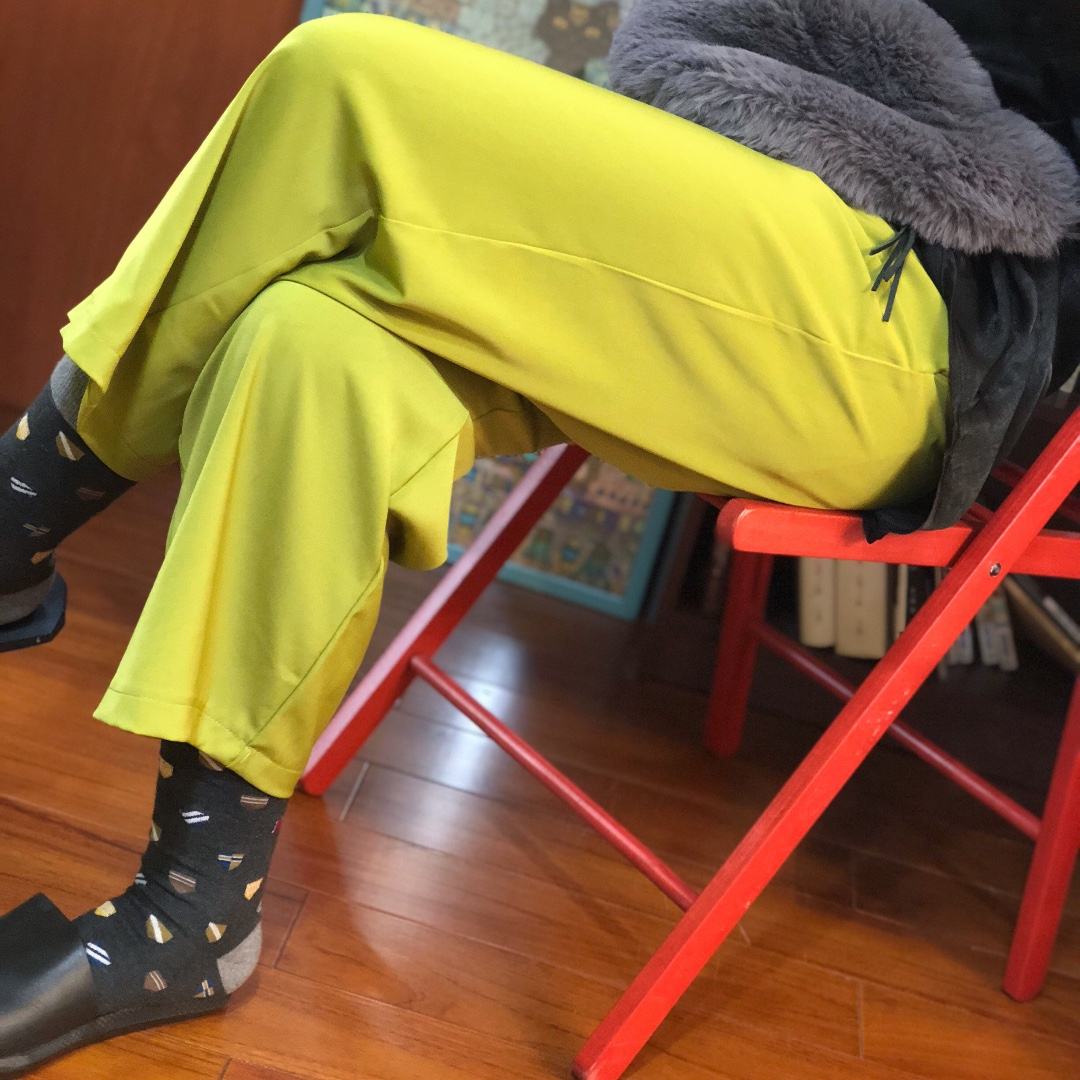 『清爽芥末綠百搭八九分厚雪紡直筒寬褲』