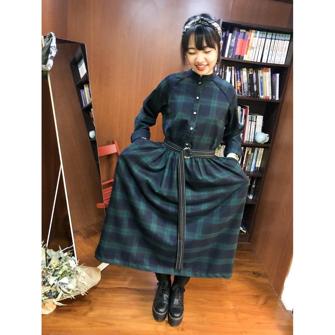 『日系小文青復古藍綠格子高腰顯瘦小立領洋裝』