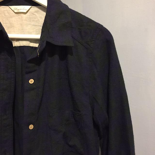 長版經典藍綠格紋襯衫