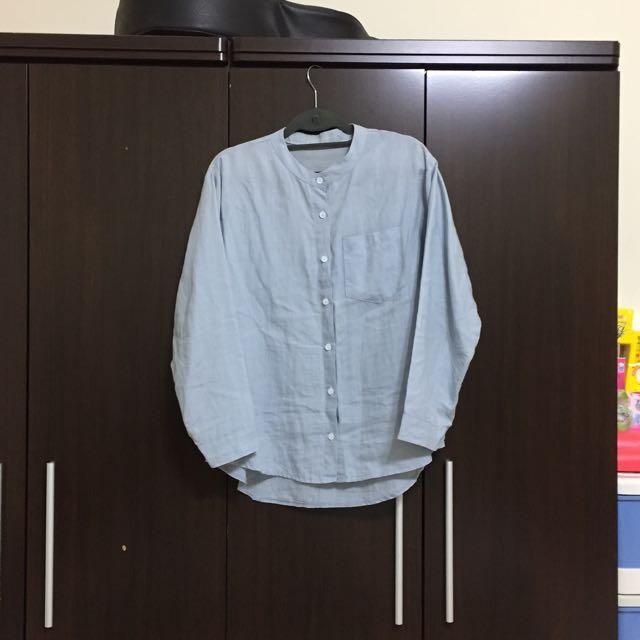 韓國 天空藍質感厚磅數棉麻圓領襯衫