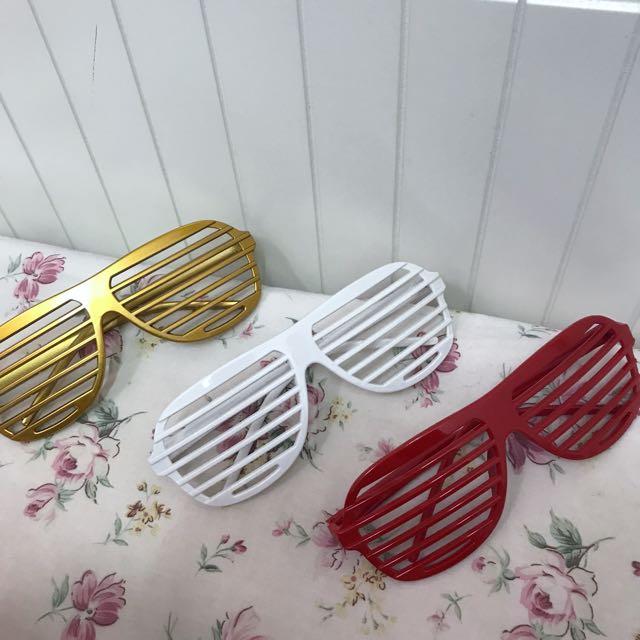 條紋派對眼鏡🎉黃明志 藝人指定款 紅 白 金一起賣!派對 尾牙 春酒必備