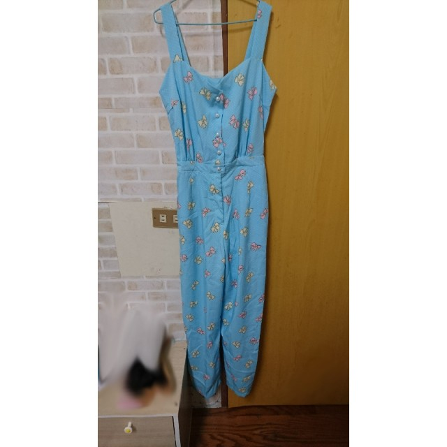 王皮香 購入 連身褲 無袖  藍色 蝴蝶結 珠珠  原宿 可愛風 少女