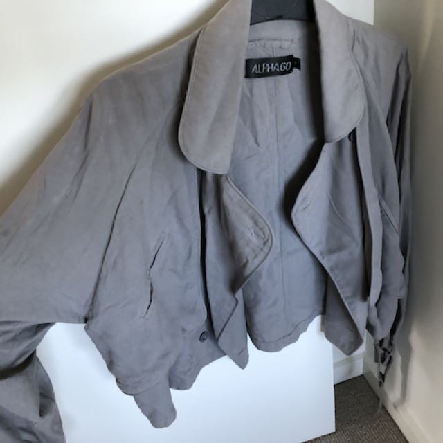 Alpha60 grey silk jacket