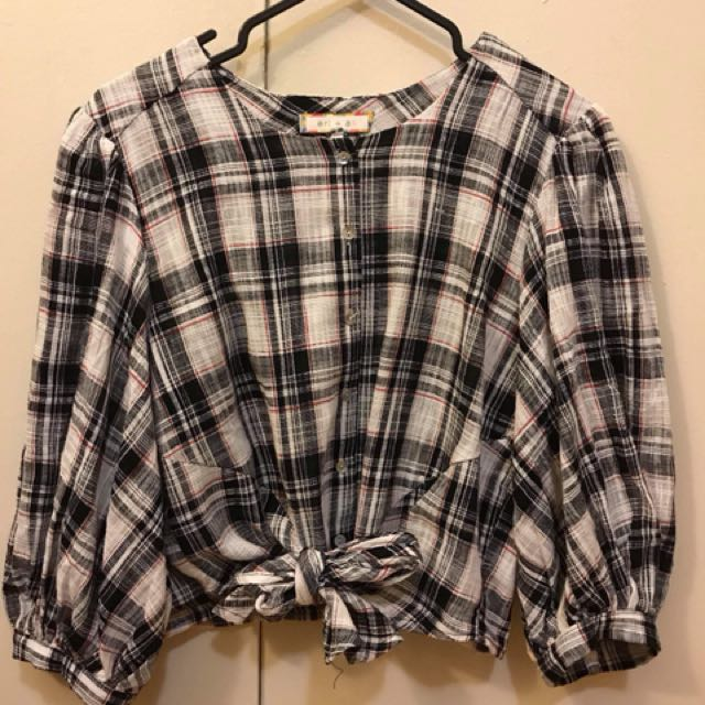 Anthropologie tied plaid shirt