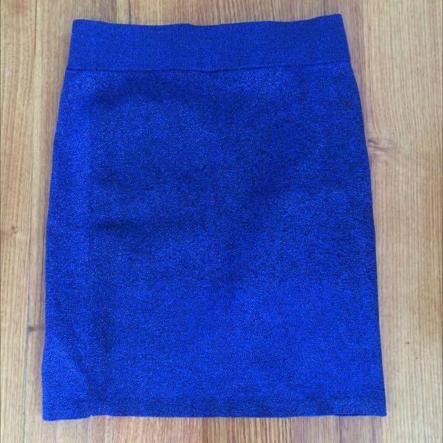 Asos Blue Sparkly Bodycon Skirt Size 12