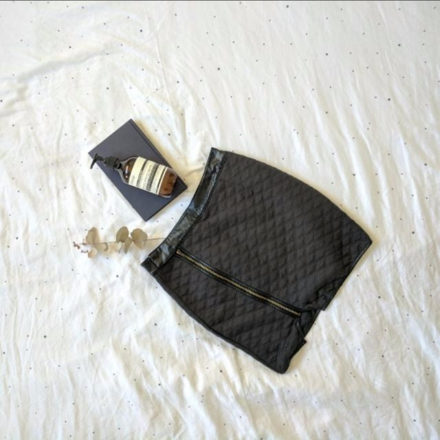 Atmos & Here Quilted Zip Skirt