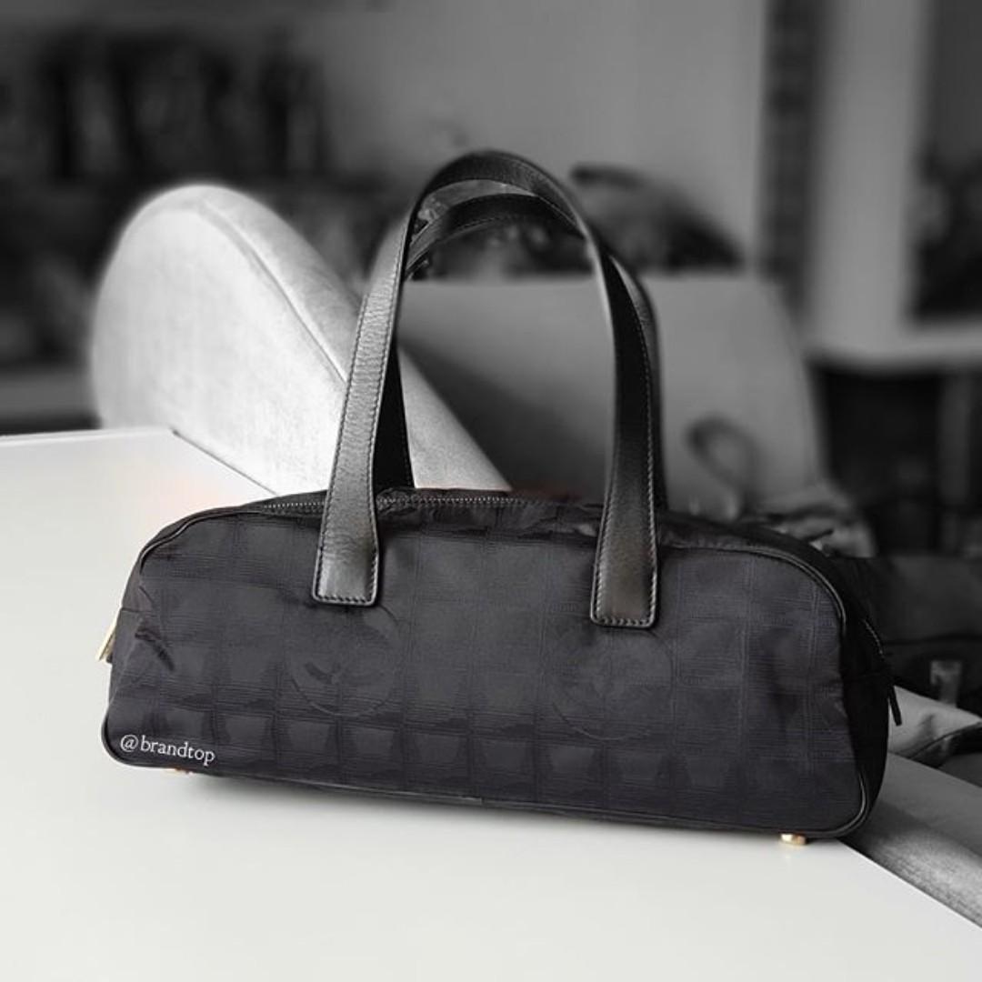 4973a805f1c8 Authentic Chanel Black Nylon CC Logo Travel Line Satchel Bag, Luxury ...